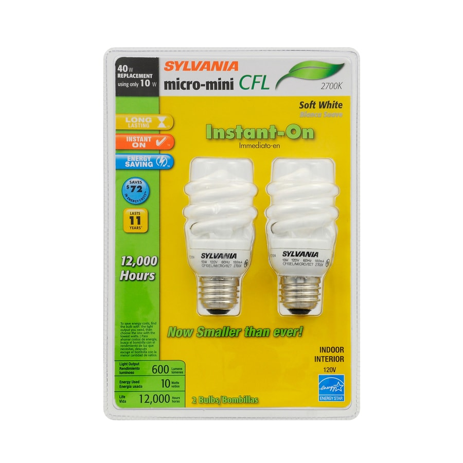 SYLVANIA 2-Pack 10-Watt (40W Equivalent) 2,700K Spiral Medium Base (E-26) Soft White CFL Bulb ENERGY STAR