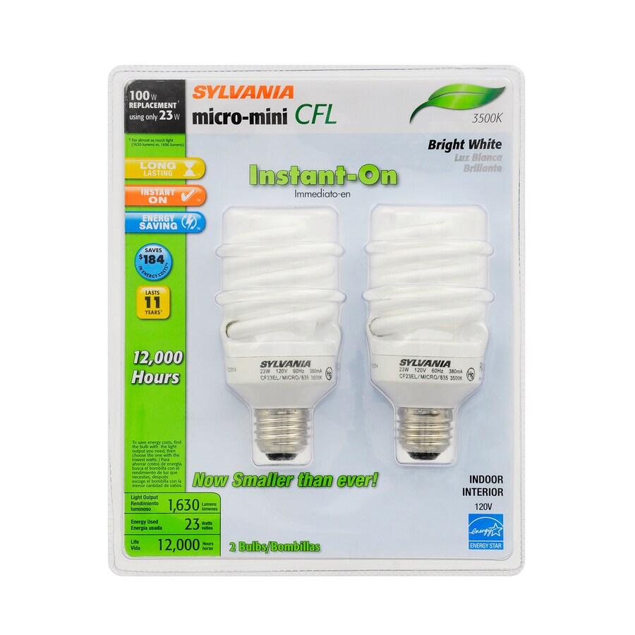 SYLVANIA 2-Pack 23-Watt (100W Equivalent) 3,500K Spiral Medium Base (E-26) Bright White CFL Bulb ENERGY STAR