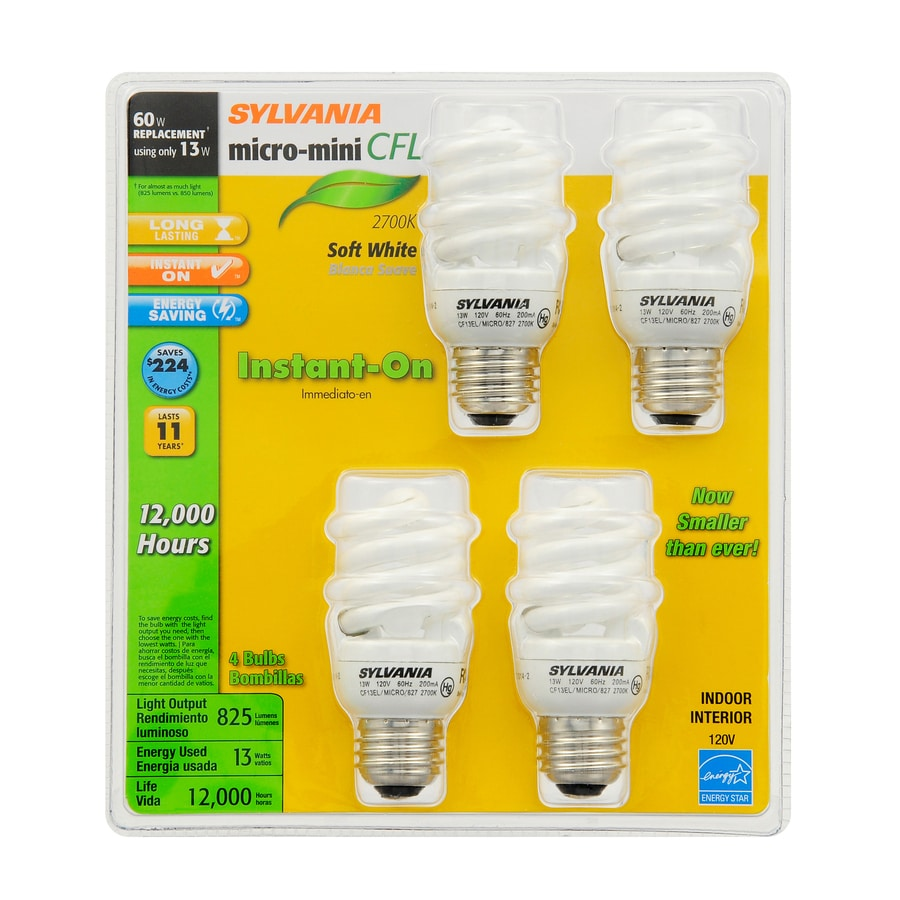 SYLVANIA 4-Pack 13-Watt (60W Equivalent) 2,700K Spiral Medium Base (E-26) Soft White CFL Bulb ENERGY STAR