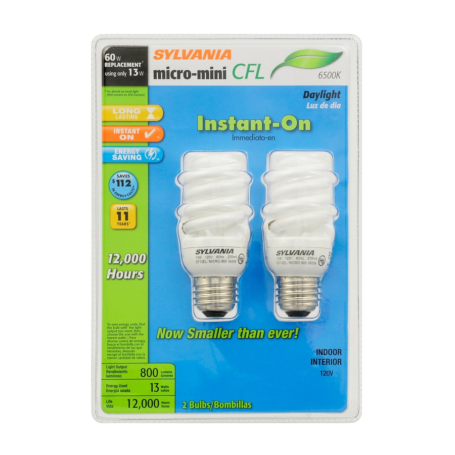 SYLVANIA 2-Pack 13-Watt (60W Equivalent) 6,500K Spiral Medium Base (E-26) Daylight CFL Bulb