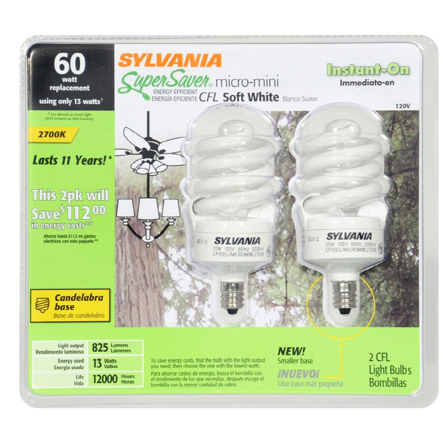 SYLVANIA 2-Pack 13-Watt (60W) Spiral Candelabra Base Soft White (2700K) CFL Bulbs ENERGY STAR