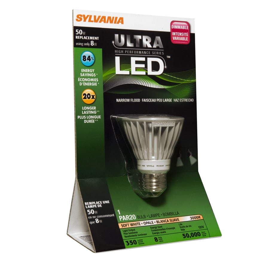 SYLVANIA 8-Watt (50W) PAR20 Medium Base Soft White Outdoor LED Flood Light Bulb ENERGY STAR