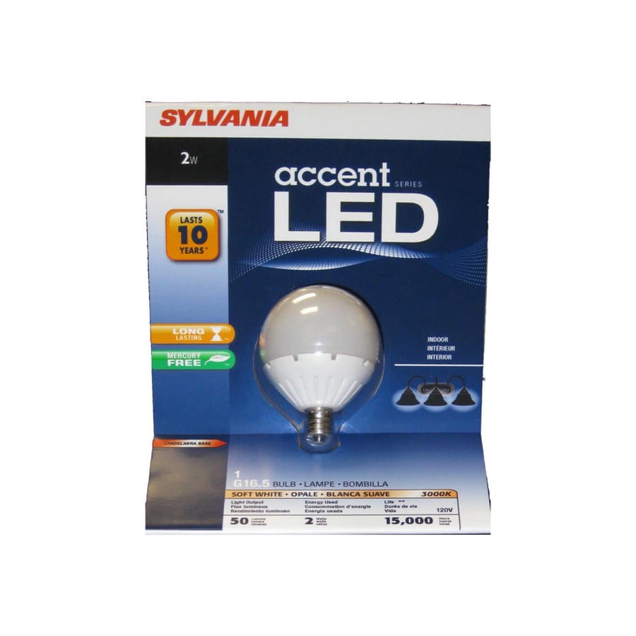 SYLVANIA 2-Watt (6W) G16.5 Candelabra Base Soft White (3000K) Decorative Globe LED Bulb