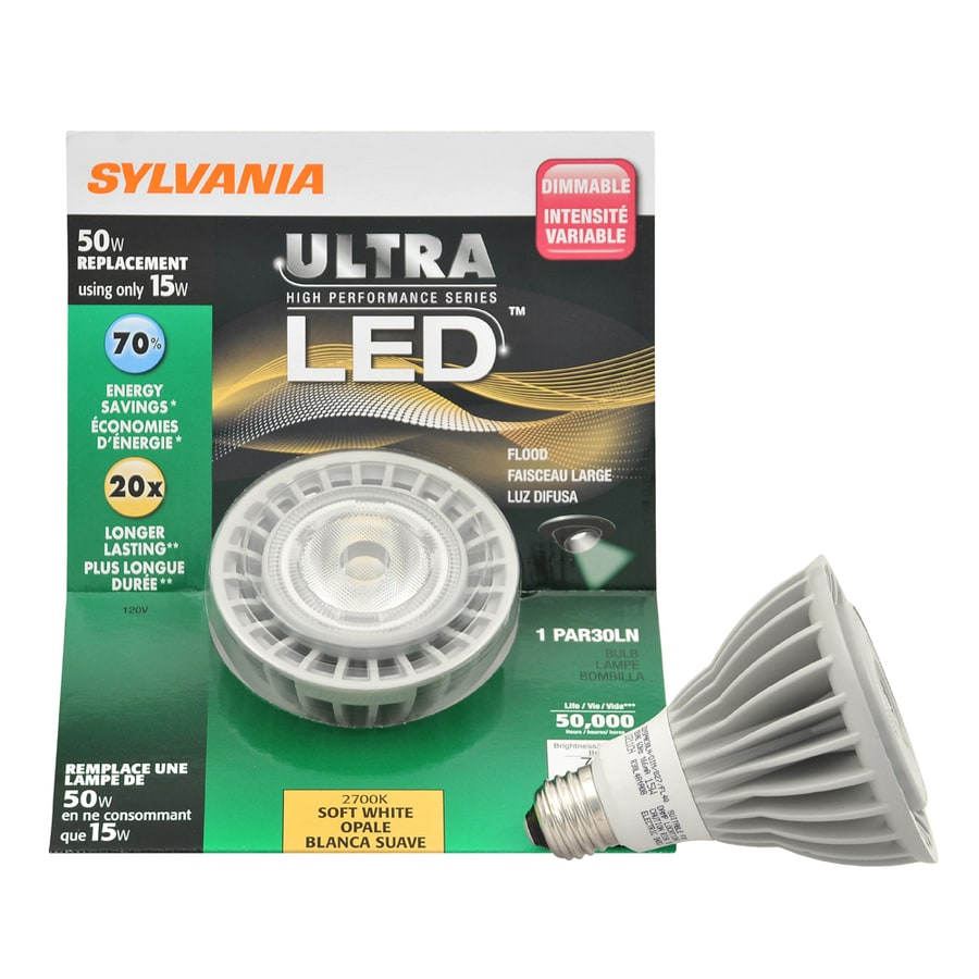 SYLVANIA 15-Watt (50W Equivalent) Par30 Longneck Soft White Outdoor LED Flood Light Bulb ENERGY STAR