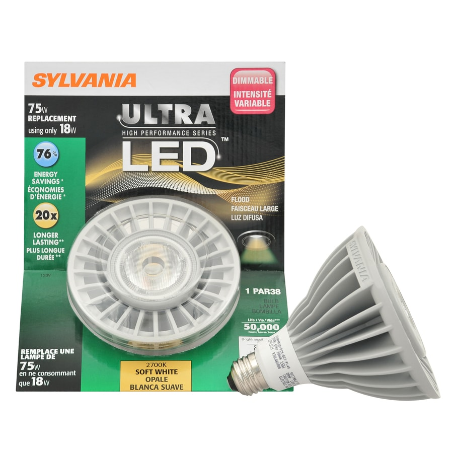 SYLVANIA 18-Watt (75W Equivalent) Par38 Soft White Outdoor LED Flood Light Bulb