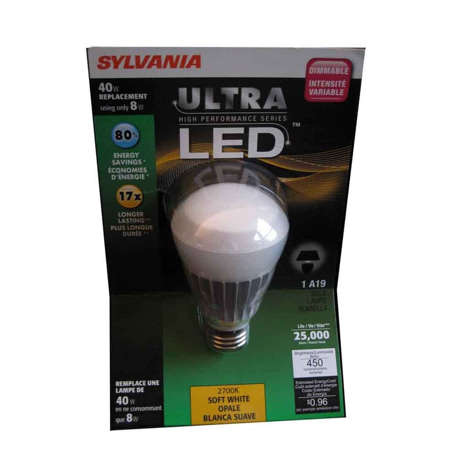 SYLVANIA 8-Watt (40W) A19 Medium Base Soft White (2700K) LED Bulb