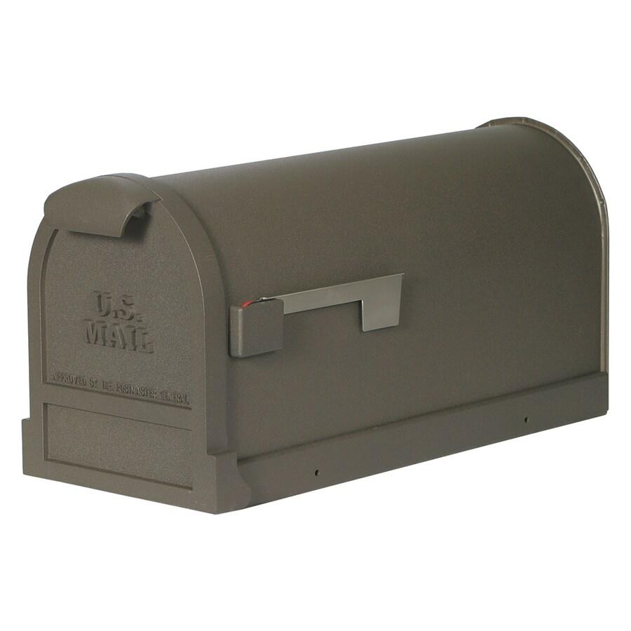 First Class Estate 9-in x 11.125-in Metal Bronze Post Mount Mailbox