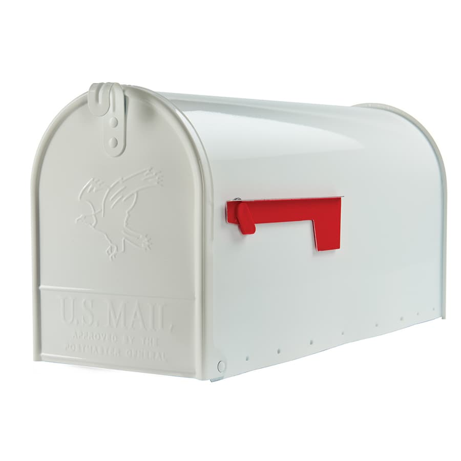 Gibraltar Industries 8.72-in x 10.88-in Metal White Post Mount Mailbox