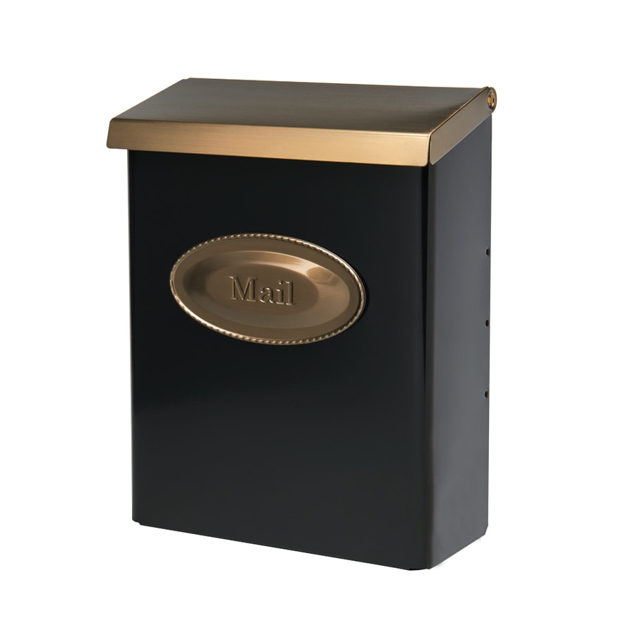 Designer 9.625-in x 12.5-in Metal Black and Brushed Brass Lockable Post Mount Mailbox