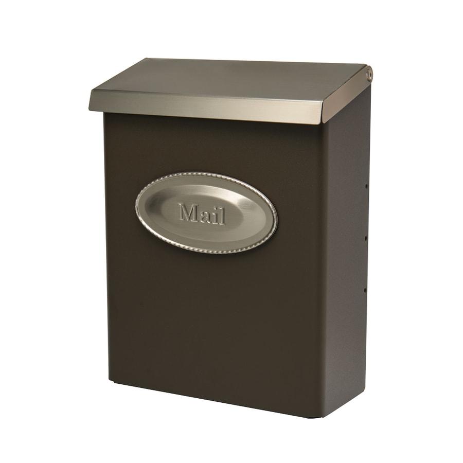 Designer 9.625-in x 12.5-in Metal Bronze and Satin Nickel Lockable Wall Mount Mailbox