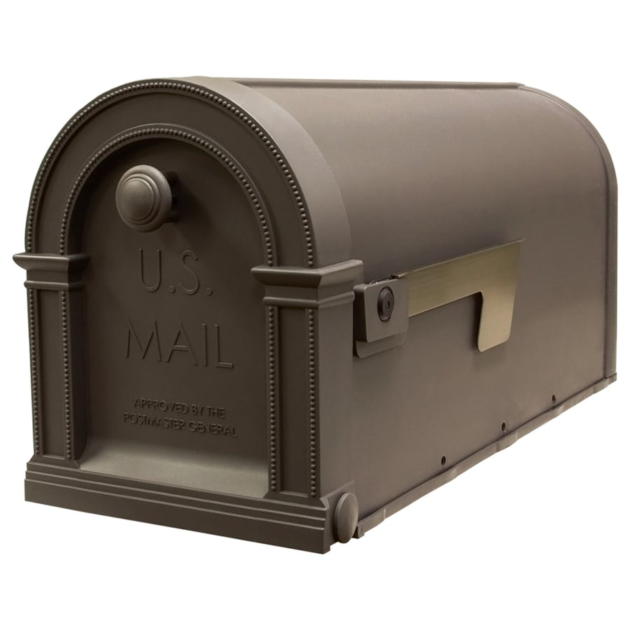 Gibraltar Industries Laurel 7.875-in x 9.75-in Plastic Mocha Latte Post Mount Mailbox