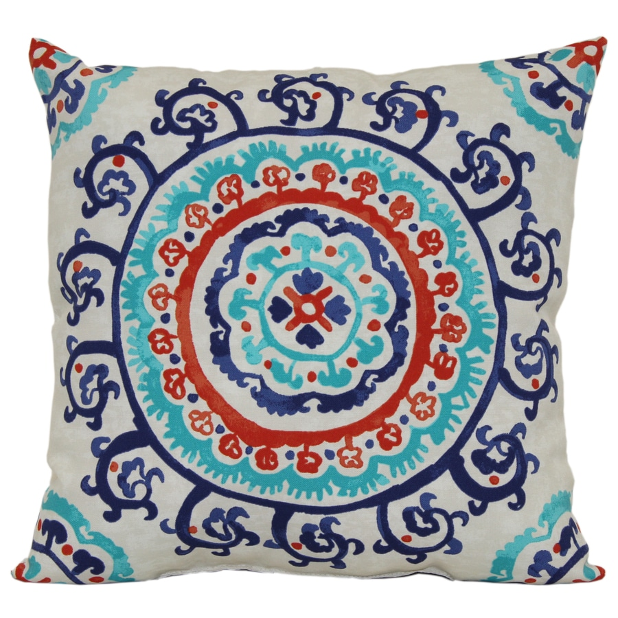 Garden Treasures White Multicolor Geometric Square Outdoor Decorative Pillow