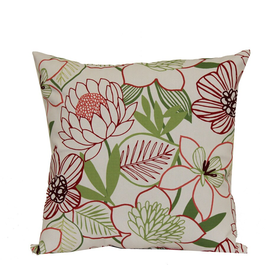 Garden Treasures White Multicolor Floral Square Throw Outdoor Decorative Pillow