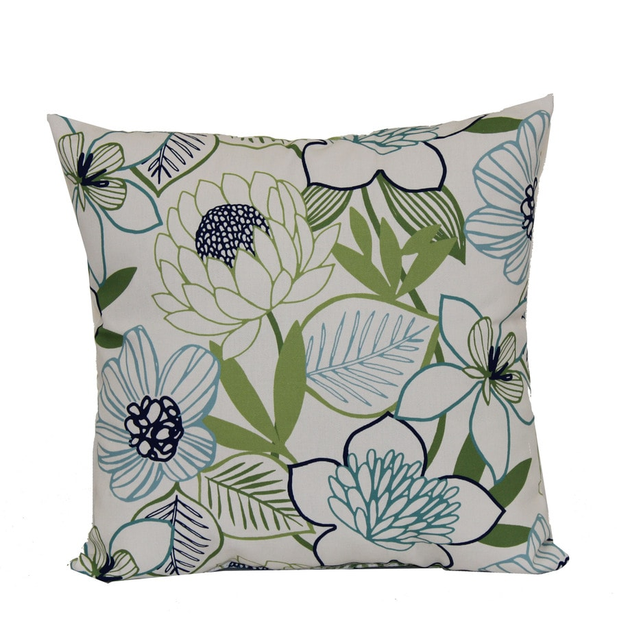 Square Decorative Pillows : Shop Garden Treasures Green Multicolor Floral Square Throw Outdoor Decorative Pillow at Lowes.com