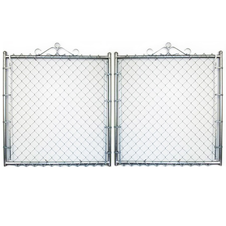 Galvanized Steel Chain-Link Fence Gate (Common: 16-ft x 8-ft; Actual: 15.5-ft x 8-ft)