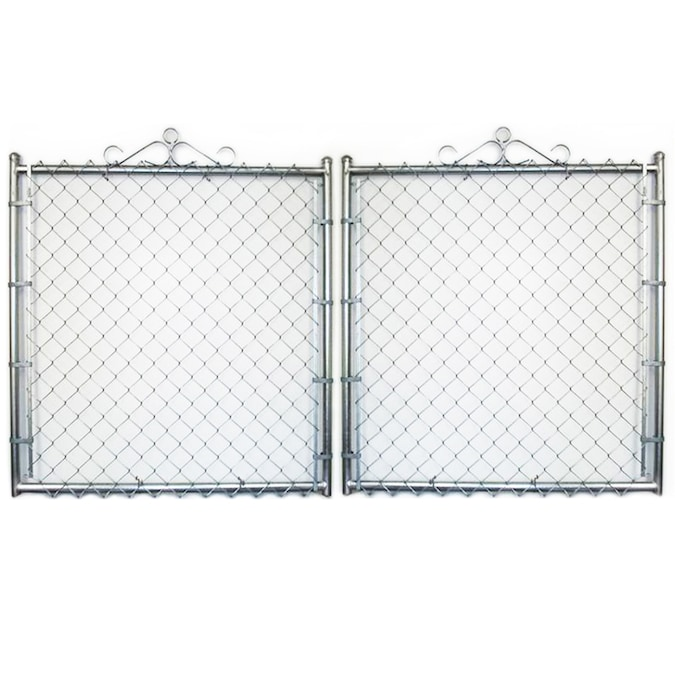 Galvanized Steel Chain Link Fence Gate Common 12 Ft X 6 Ft Actual 11 5 Ft X 6 Ft In The Metal Fence Gates Department At Lowes Com