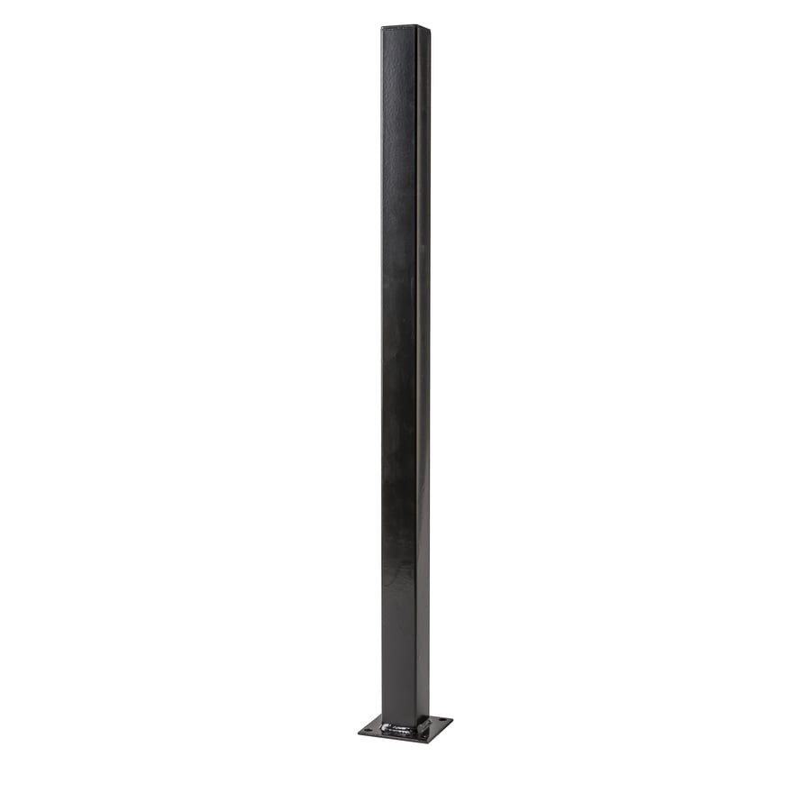 Black Steel Decorative Metal Fence Universal Post (Common: 2-1/2-in x 2-1/2-in x 4-ft; Actual: 2.5-in x 2.5-in x 4-ft)