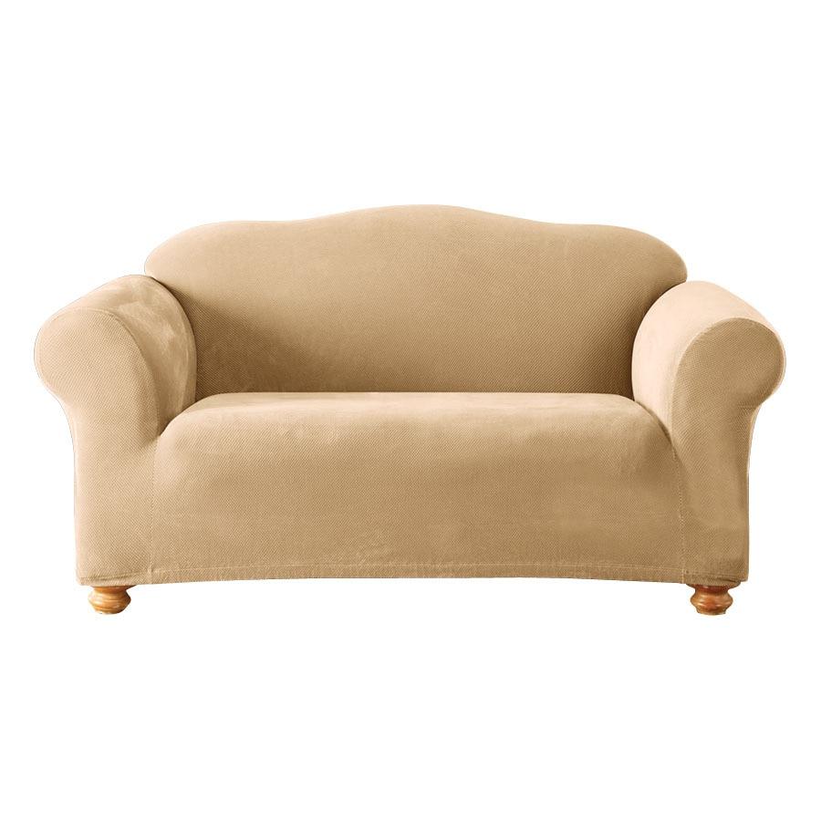 Shop Stretch Pique Cream Velvet Sofa Slipcover At Lowes Com