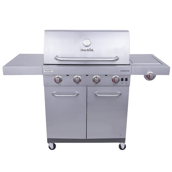 Char-Broil Commercial Stainless Steel 4-Burner Liquid Propane and Natural Gas Infrared Gas Grill with 1 Side Burner