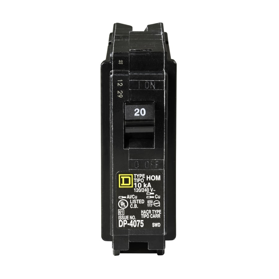 Square D Homeline 20-Amp 1-Pole Single-Pole Circuit Breaker