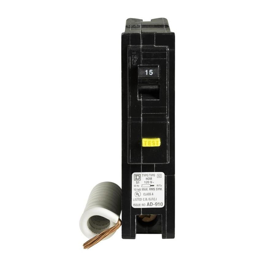 Square D Homeline 15-Amp 1-Pole Ground Fault Circuit Breaker