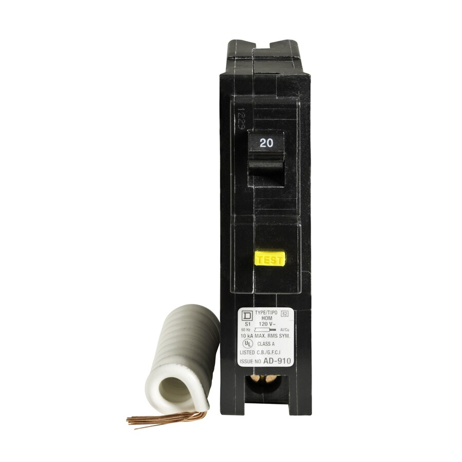 Square D Homeline 20-Amp 1-Pole Ground Fault Circuit Breaker
