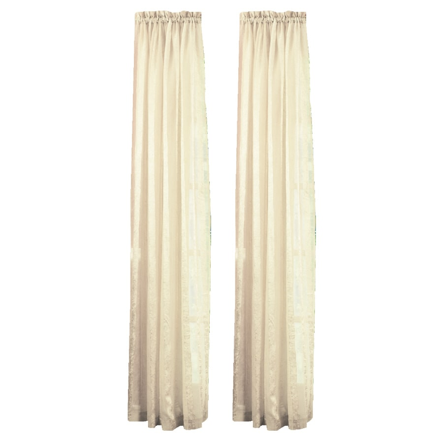Style Selections Crystal 84-in Beige Polyester Rod Pocket Light Filtering Sheer