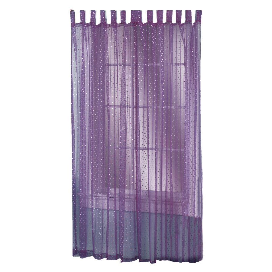 Style Selections Icicle 84-in Purple Polyester Top Tab Light Filtering Sheer Single Curtain Panel