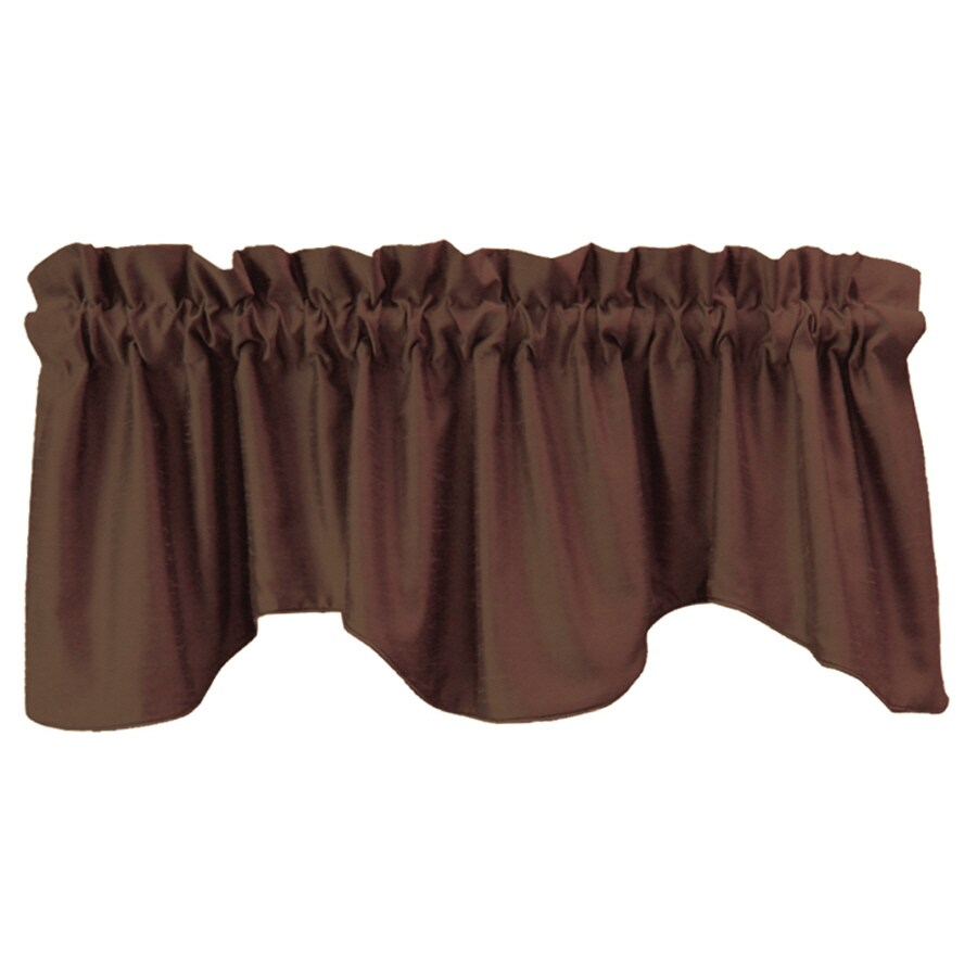allen + roth Florence 18-in Chocolate Polyester Rod Pocket Valance