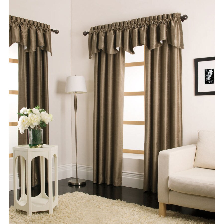 allen + roth Florence 95-in Taupe Polyester Rod Pocket Light Filtering Single Curtain Panel