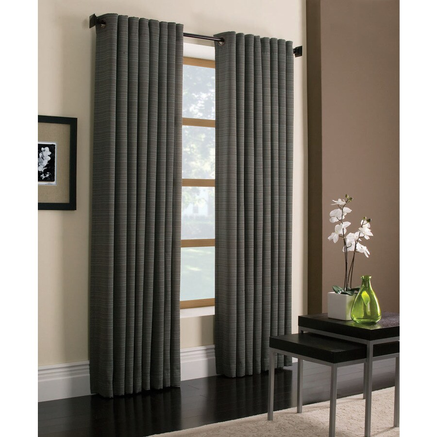 Style Selections Marsden 84-in Blue Polyester Grommet Light Filtering Single Curtain Panel