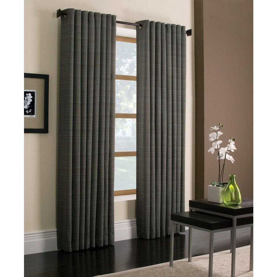Style Selections Marsden 95-in Blue Polyester Grommet Light Filtering Single Curtain Panel