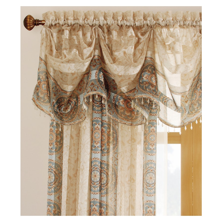 allen + roth Cheshire 14.5-in Mist Polyester Rod Pocket Sheer Valance