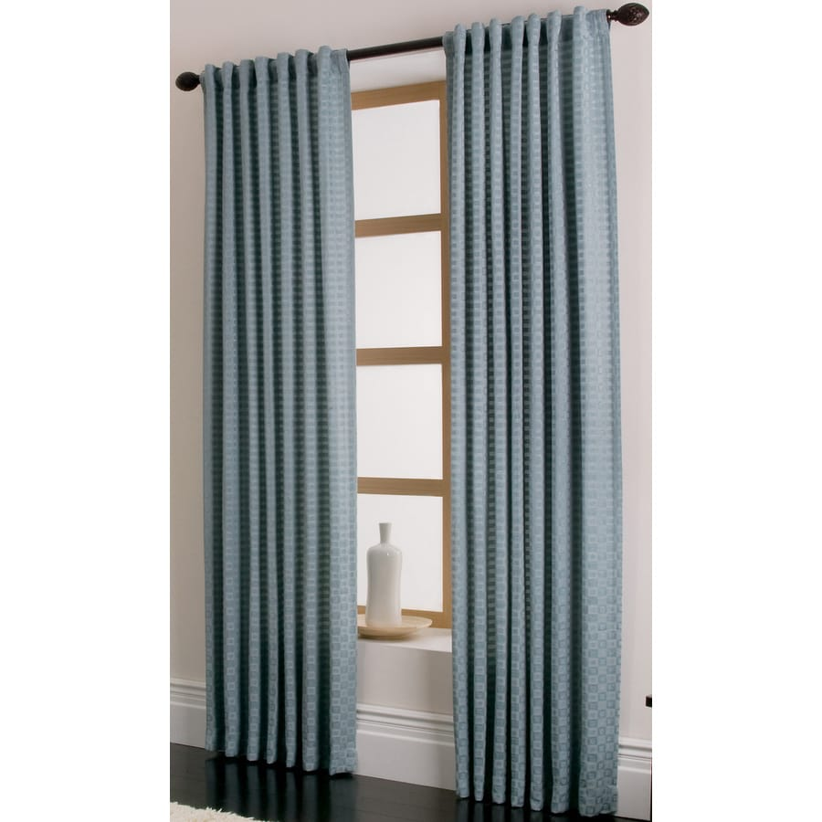 allen + roth Cornwall 84-in L Solid Blue Rod Pocket Window Curtain Panel