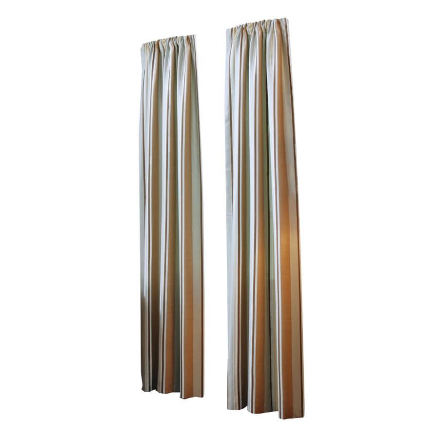 allen + roth Alison 63-in L Stripe Blue Rod Pocket Curtain Panel