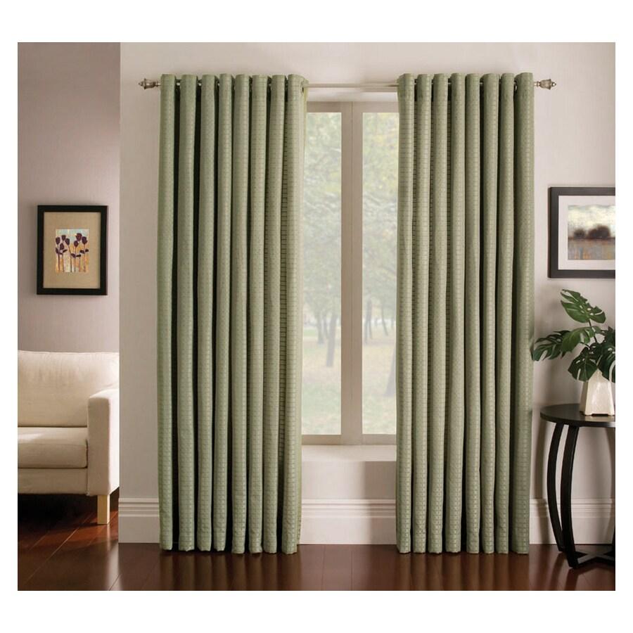 allen + roth Sullivan 63-in Green Polyester Grommet Light Filtering Single Curtain Panel