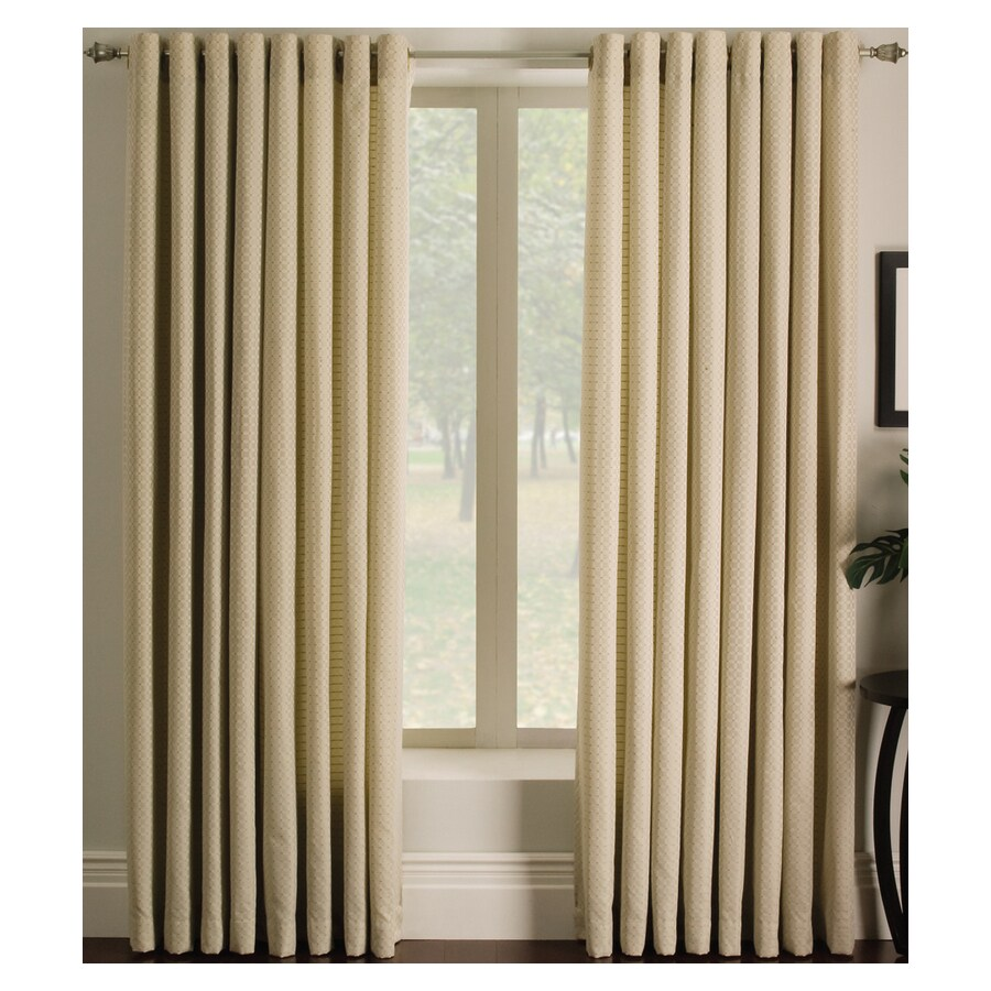 allen + roth Sullivan 63-in Ivory Polyester Grommet Single Curtain Panel