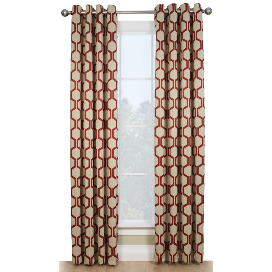 Style Selections Quinn 84-in Red/Ivory Polyester Grommet Room Darkening Single Curtain Panel