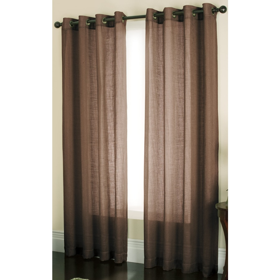 allen + roth Loudon 84-in Coffee Polyester Grommet Sheer Single Curtain Panel