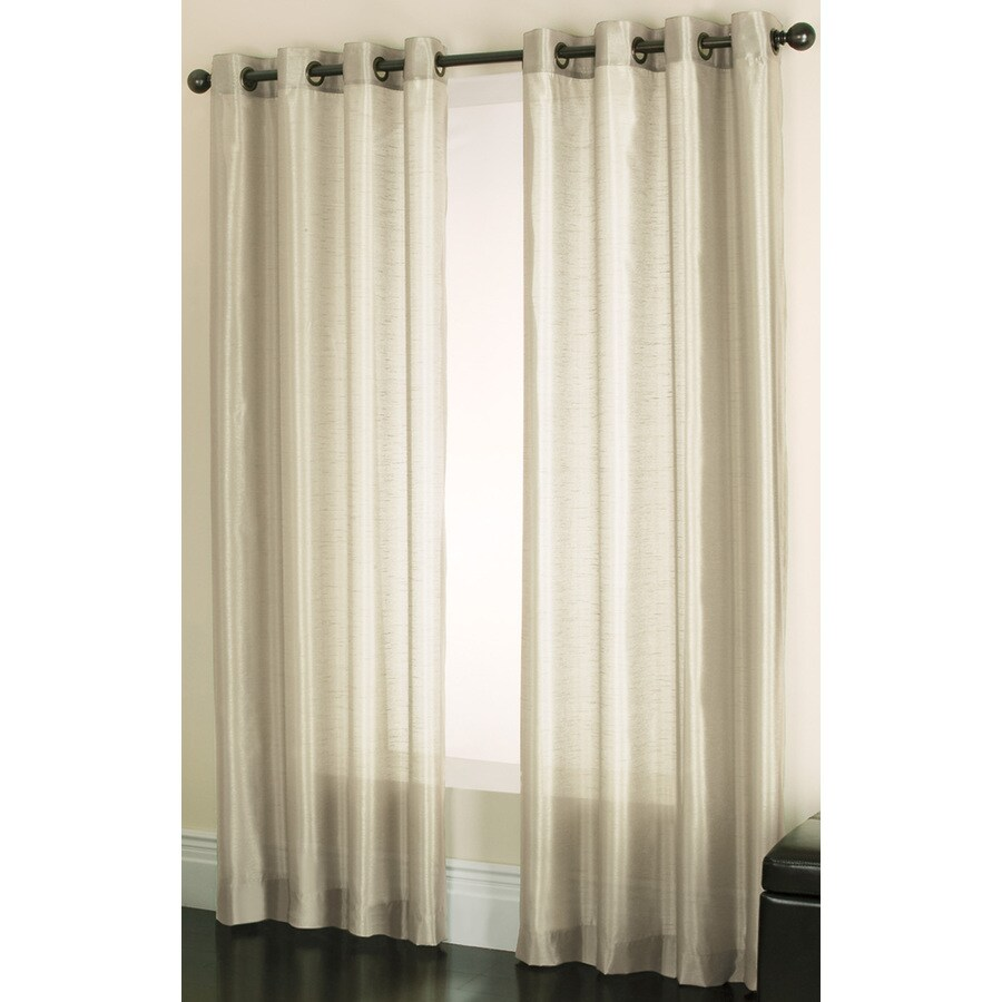 Shop Allen Roth Edistone 63 In Ivory Polyester Grommet Light Filtering Sheer At