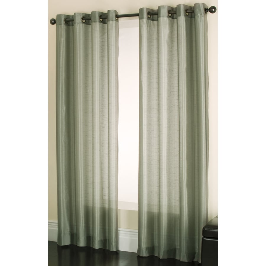 allen + roth Edistone 95-in Green Polyester Grommet Sheer Single Curtain Panel