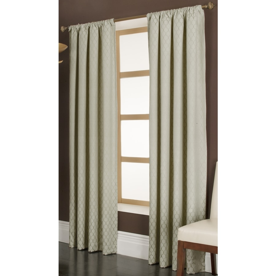 allen + roth Parksley 84-in Ivory Cotton Rod Pocket Light Filtering Single Curtain Panel