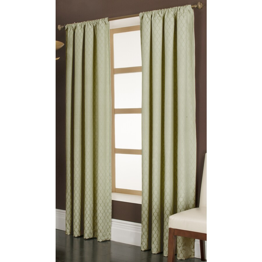 allen + roth Parksley 84-in Basil Cotton Rod Pocket Light Filtering Single Curtain Panel