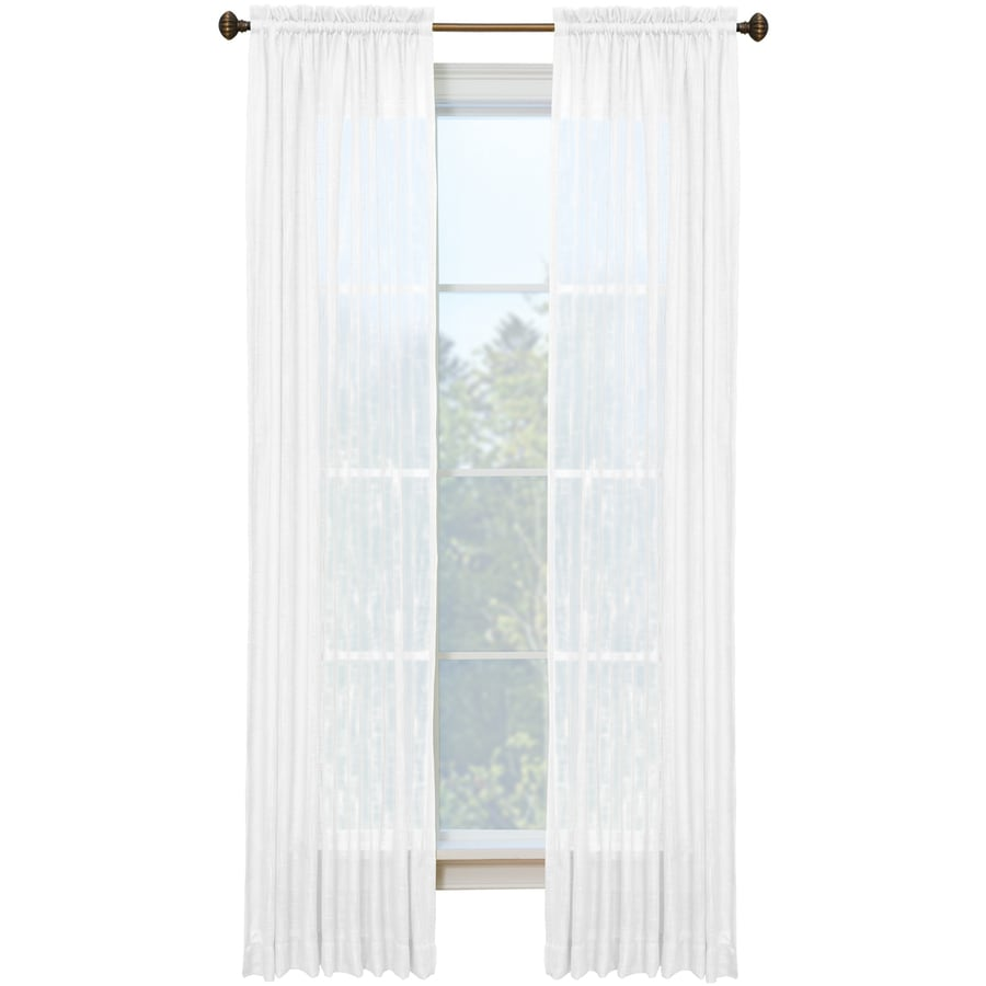 Style Selections Kenna 84-in Snow Polyester Rod Pocket Single Curtain Panel