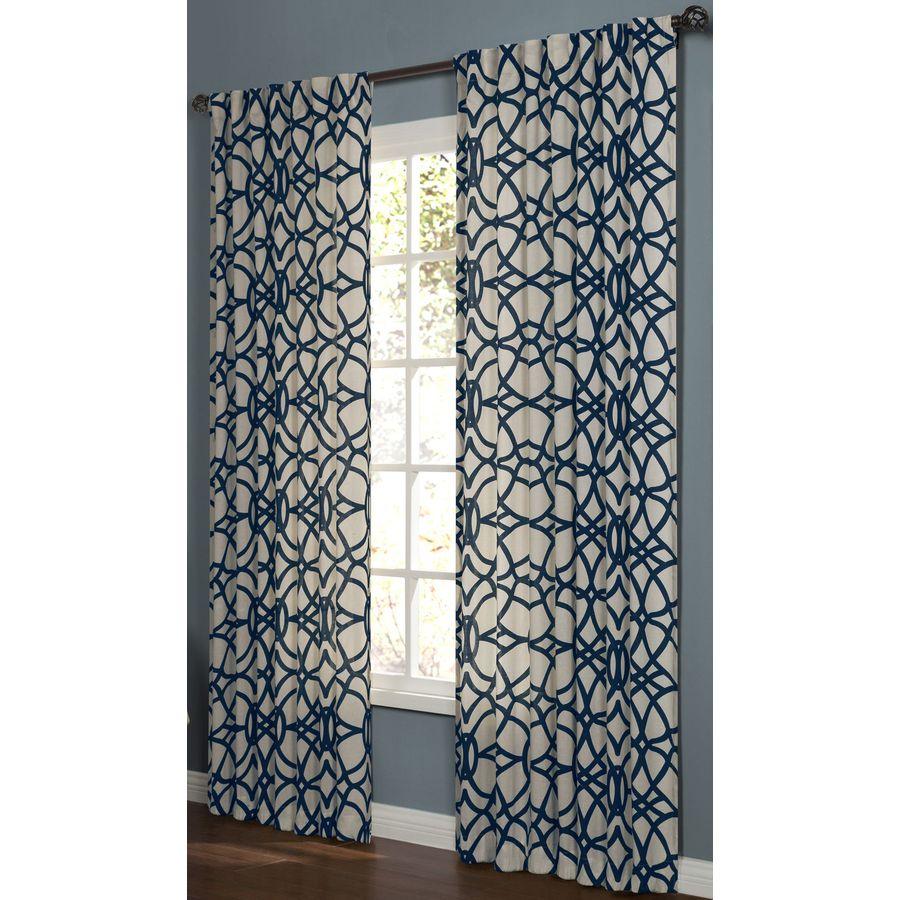 allen + roth Oberlin 84-in Navy Cotton Back Tab Light Filtering Single Curtain Panel