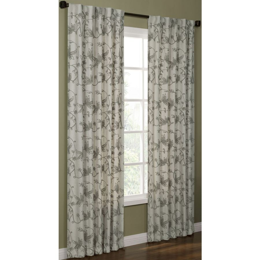 allen + roth Elmbridge 84-in Pewter Polyester Back Tab Light Filtering Single Curtain Panel