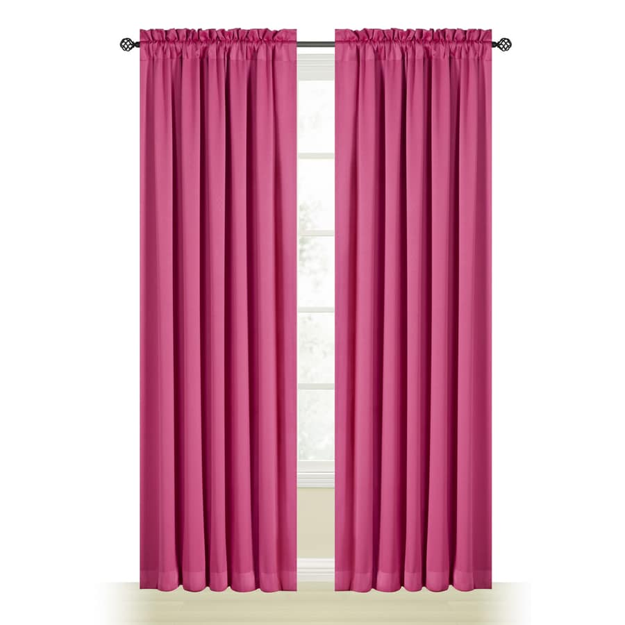 Style Selections Myla 63-in Pink Polyester Rod Pocket Room Darkening Single Curtain Panel