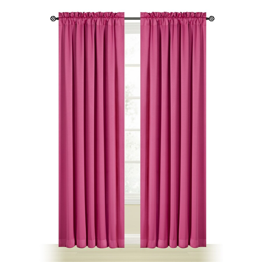 Style Selections Myla 84-in Pink Polyester Rod Pocket Room Darkening Single Curtain Panel