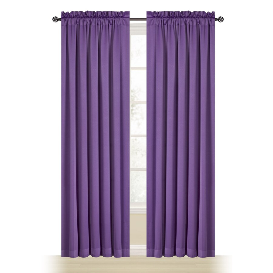 Style Selections Myla 84-in Purple Polyester Rod Pocket Room Darkening Single Curtain Panel