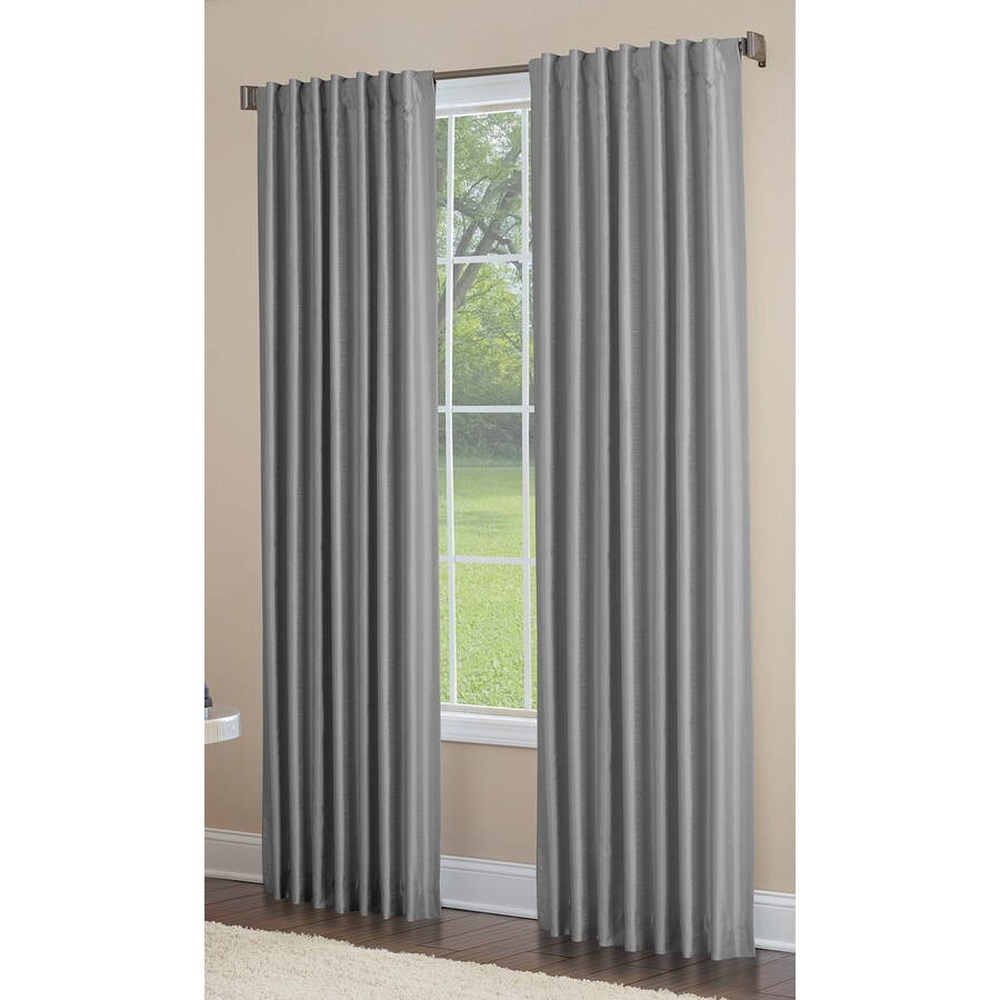 allen + roth Glenellen 63-in Coal Polyester Back Tab Light Filtering Single Curtain Panel